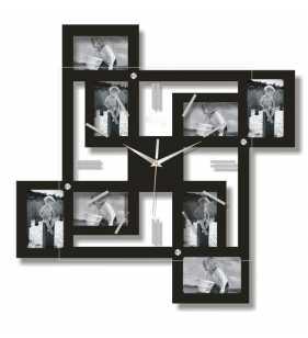 Nowoczesny zegar ścienny ramki  na zdjęcia czarny