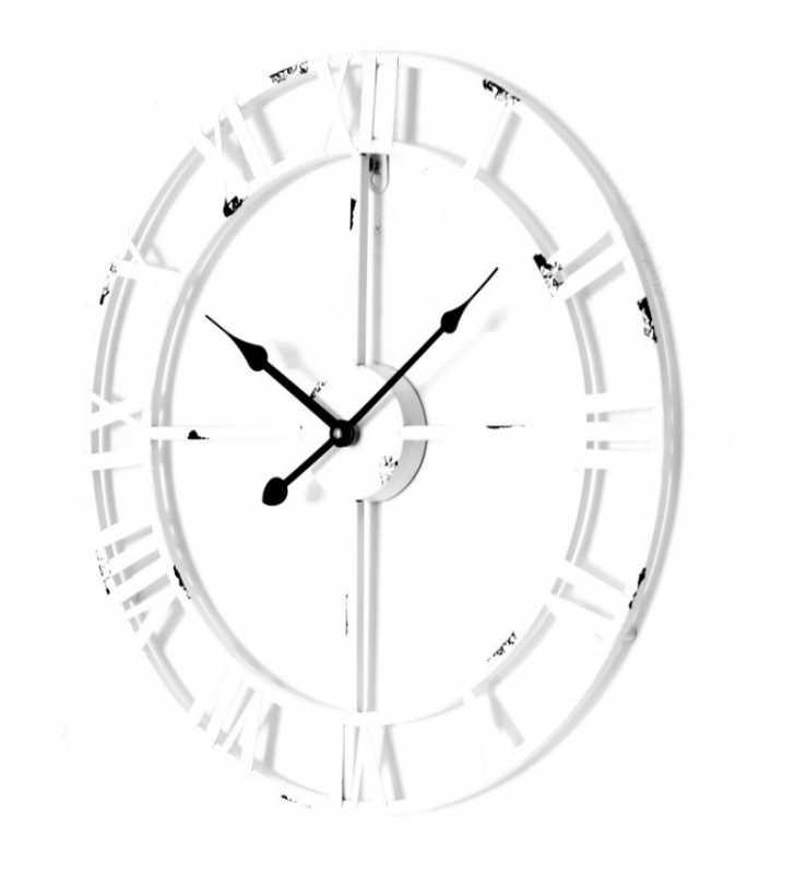 Zegar ścienny loft biały postarzany