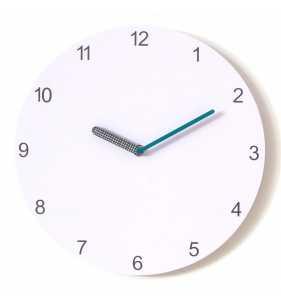 Nowoczesny zegar ścienny Happy Hour White, turkusowy zegar,zegar z turkusową wskazówką,