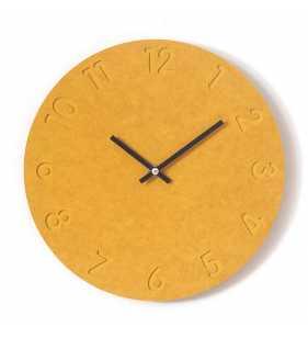 Nowoczesny zegar ścienny ECOBOARD żółty