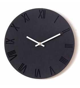 woczesny zegar ścienny ECOBOARD RZYMSKI czarny