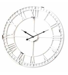 Zegar ścienny retro metalowy LOFT biały 60 cm