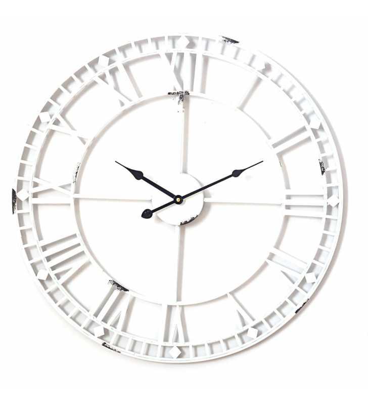 9862fa7695aa Zegar ścienny retro metalowy LOFT biały 60 cm