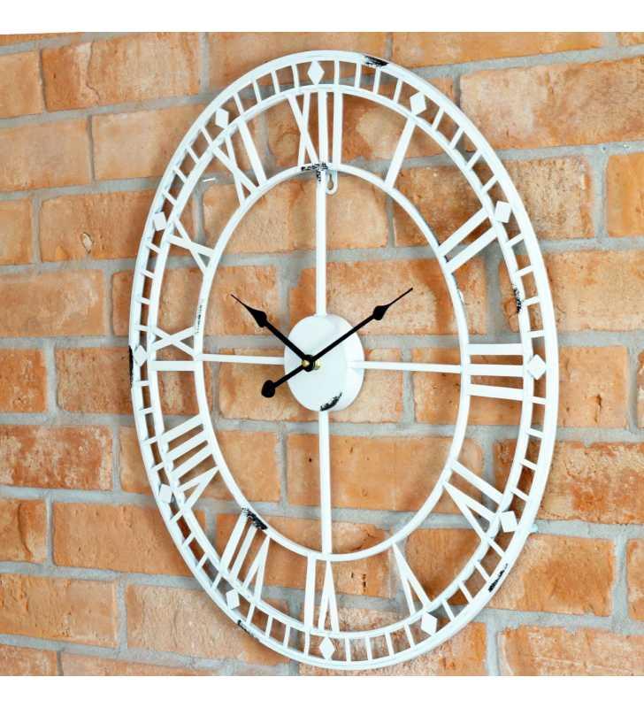 b668b895dd02 ... Zegar ścienny retro metalowy LOFT biały 60 cm ...