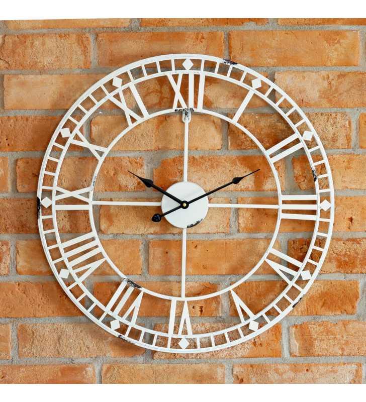 2ba6a4ef29cf ... Zegar ścienny retro metalowy LOFT biały 60 cm