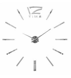 Duży zegar ścienny 3D DIY lustro 70cm-130cm 12S003 srebrny