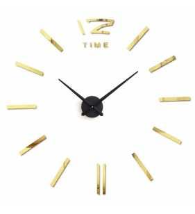 Duży zegar ścienny 3D DIY lustro 70cm-130cm 12S003 czarno złoty