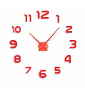 Duży zegar ścienny 3D DIY lustro 70cm-130cm 12S002  CZERWONY