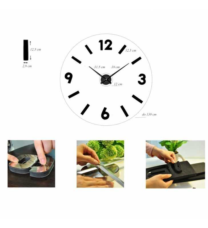 Duży zegar ścienny 3D DIY lustro 70cm-130cm 1817 CZARNO CZERWONY