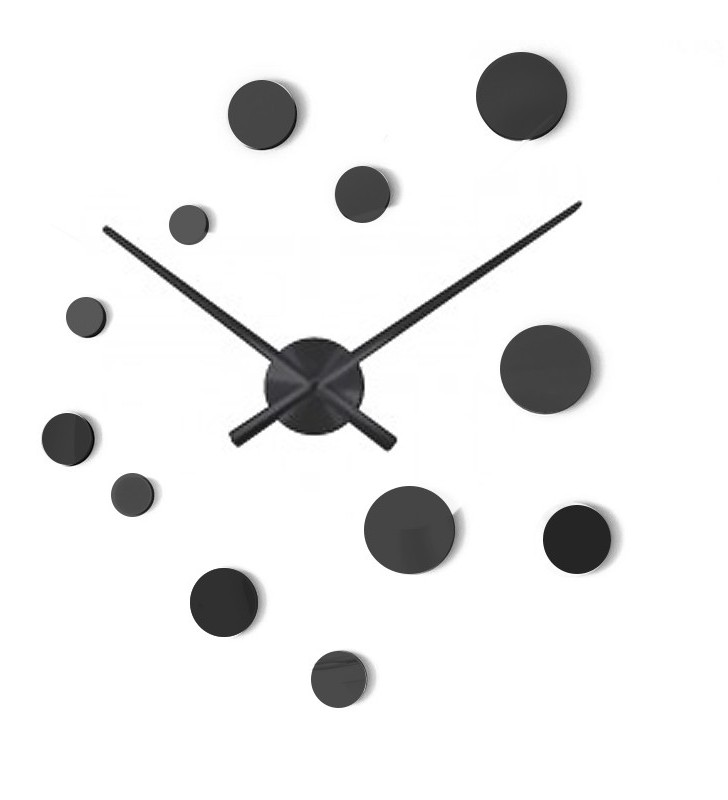Duży nowoczesny zegar ścienny LUXURY DIY 70-130cm 12E100 czarny