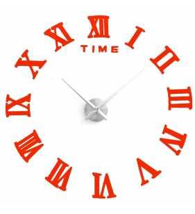 Duży zegar ścienny 3D DIY lustro 70cm-130cm 12S019 czerwony