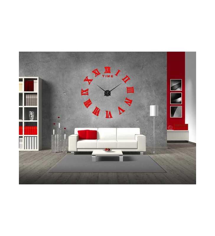 Duży zegar ścienny 3D DIY lustro 70cm-130cm 12S019 czerwony w salonie