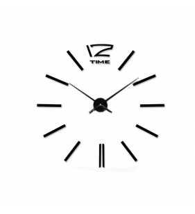 Czarny zegar ścienny naklejany na ścianę