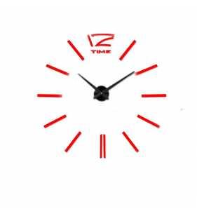 Duży zegar ścienny naklejany czarno czerwony