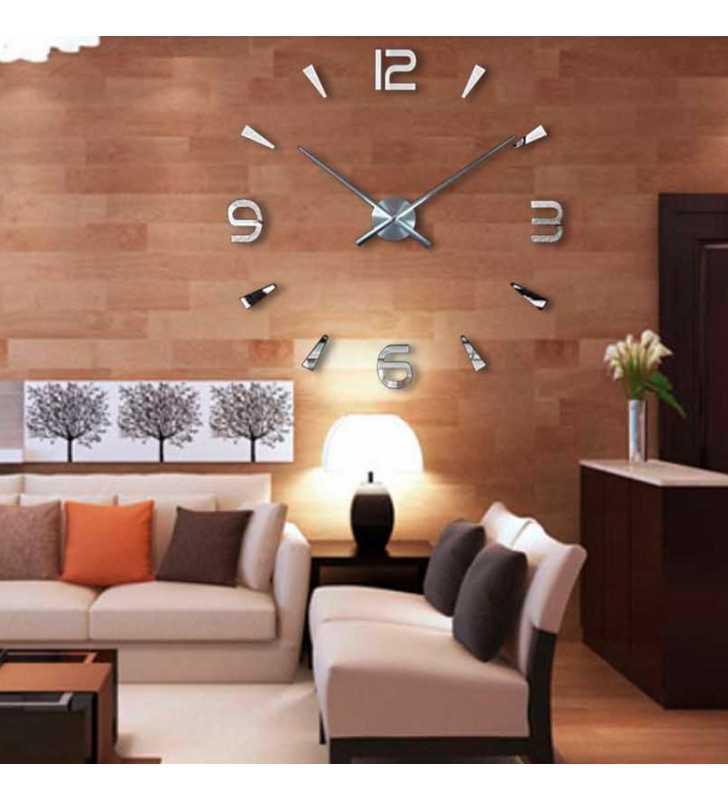 Duży zegar ścienny 3D DIY lustro 70cm-130cm T4218