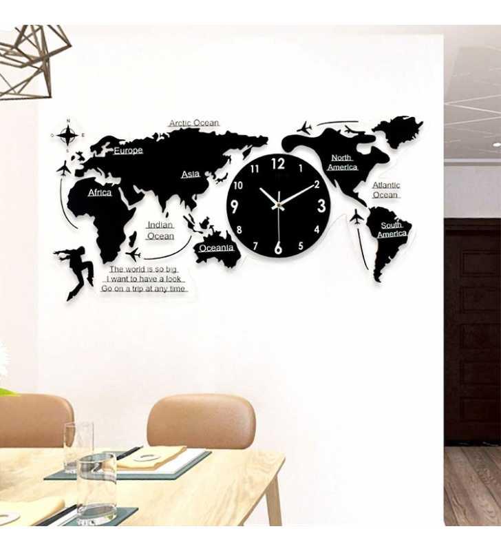 Nowoczesny Zegar ścienny Mapa świata Duży Efekt