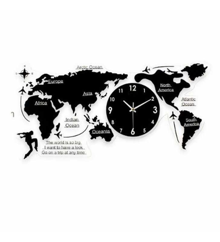 Nowoczesny Zegar ścienny Mapa świata Duży Efekt 78 Cm