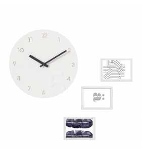 Nowoczesny zegar ścienny Ramki na zdjęcia biało-czarny