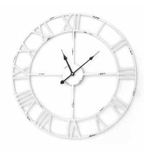 Metalowy zegar ścienny VINTAGE Shabby LOFT 58 cm biały