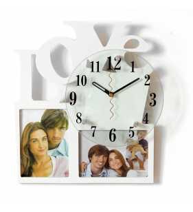 Nowoczesny zegar ścienny ramki  na zdjęcia LOVE biały