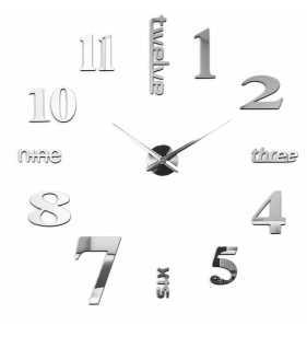 Duży zegar ścienny 3d diy lustro 70cm-130cm 12S015 srebrny