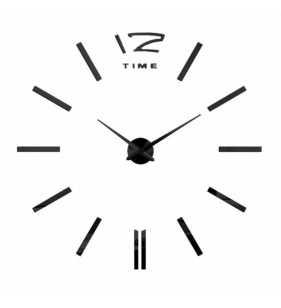 Duży zegar ścienny 3D DIY lustro 70cm-130cm 12S003 czarny