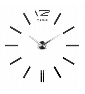 Duży zegar ścienny 3D DIY lustro 70cm-130cm 12S003 czarno-srebrny