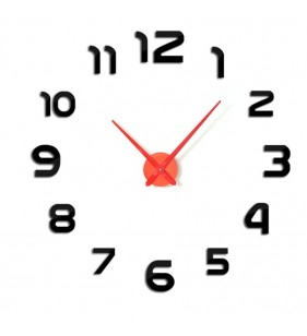 Duży zegar ścienny 3D DIY lustro 70cm-130cm 12S002 CZARNO CZERWONY
