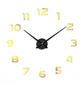 Duży zegar ścienny 3d DIY lustro 70cm-130cm 12s002 czarno złoty