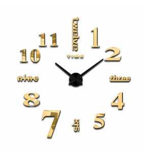 Duży zegar ścienny 3D DIY lustro 70cm-130cm 12S015 czarno złoty