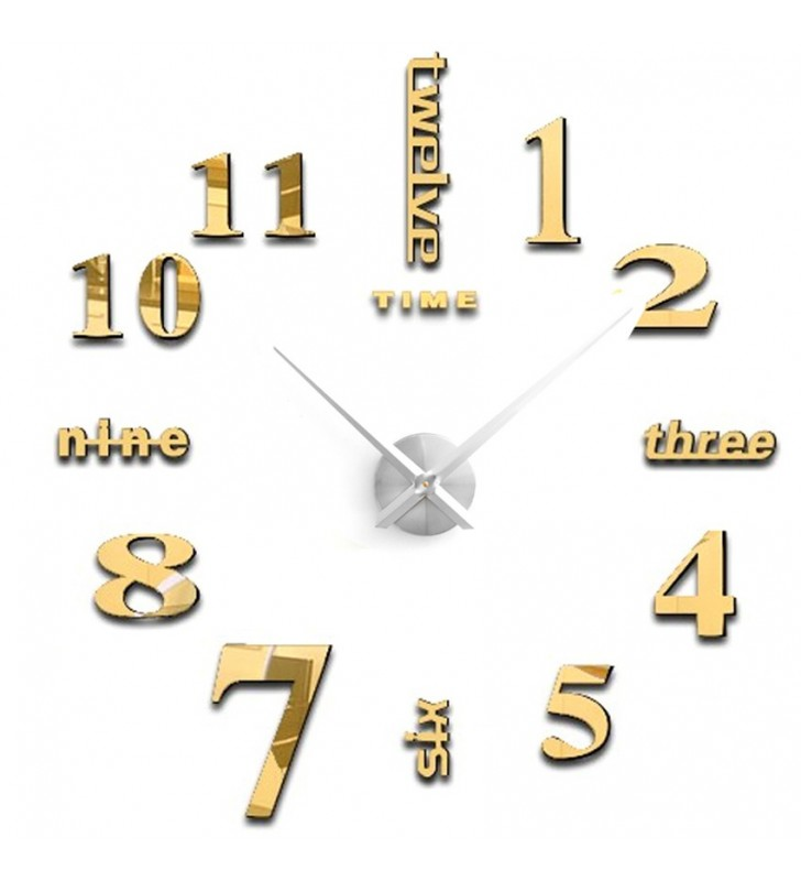 Nowoczesny zegar ścienny naklejany na ścianę DIY XXL od 70-130 cm 12S015