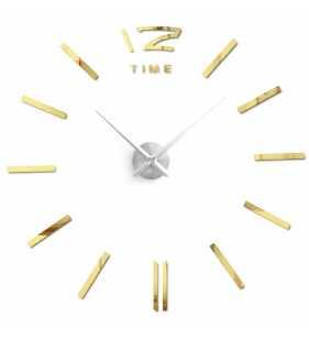 Duży zegar ścienny 3D DIY lustro 70cm-130cm 12S003 srebrno złoty
