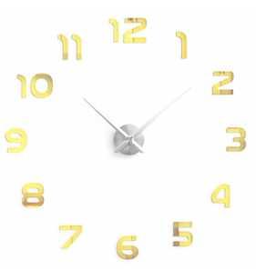 Duży zegar ścienny 3D DIY lustro 70cm-130cm 12S002 srebrno złoty