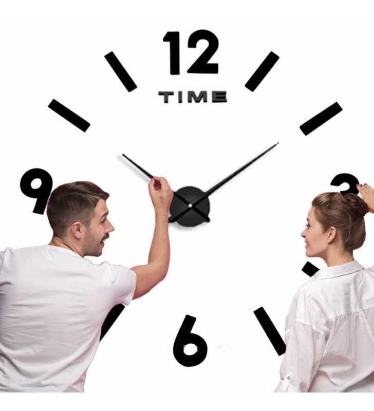 Duży zegar ścienny 3D DIY lustro 70cm-130cm 1817 CZARNY