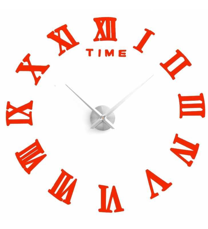 Nowoczesny Zegar ścienny Diy Do Naklejania Xxl Efekt 3d Do 120 Cm Czerwony