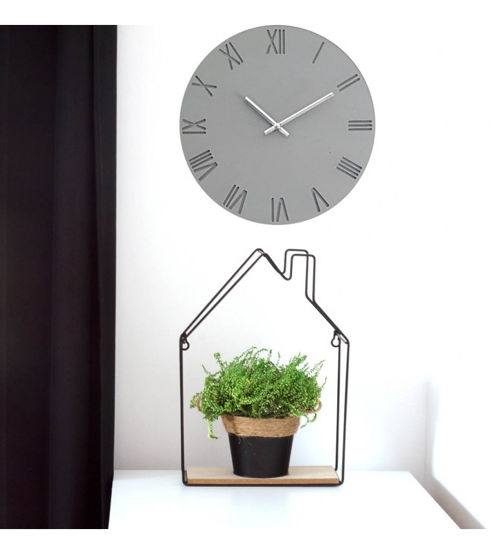 szary zegar ścienny, Skandynawski zegar ścienny GREY RZYM