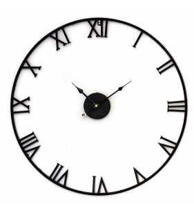 Zegar ścienny retro metalowy LOFT czarny 80 cm